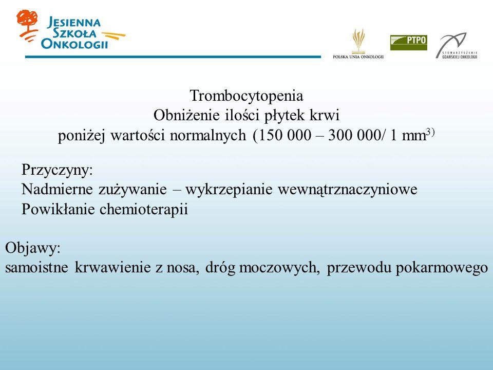 Trombocytopenia Obniżenie ilości płytek krwi poniżej wartości normalnych (150 000 – 300 000/ 1 mm 3) Przyczyny: Nadmierne zużywanie – wykrzepianie wew