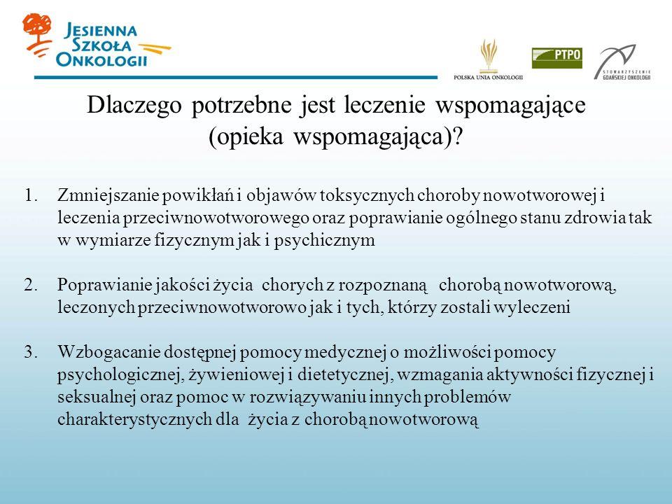 Dlaczego potrzebne jest leczenie wspomagające (opieka wspomagająca)? 1.Zmniejszanie powikłań i objawów toksycznych choroby nowotworowej i leczenia prz