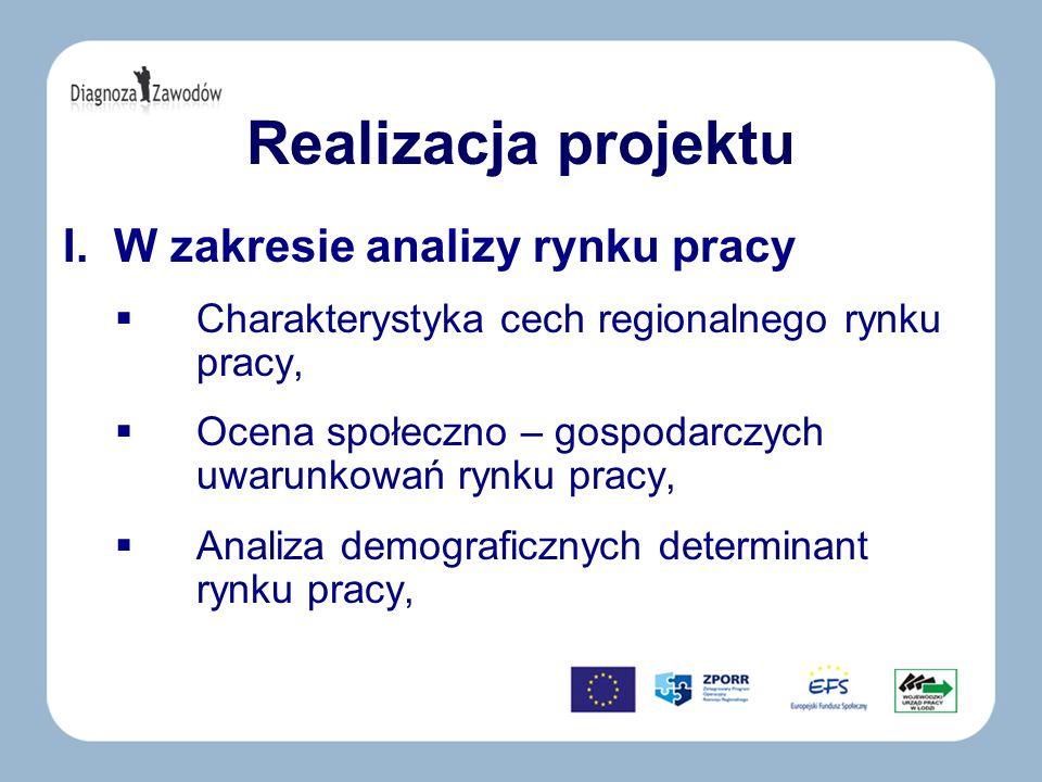 Realizacja projektu I. W zakresie analizy rynku pracy Charakterystyka cech regionalnego rynku pracy, Ocena społeczno – gospodarczych uwarunkowań rynku