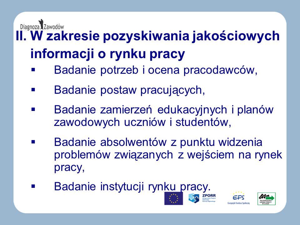 II. W zakresie pozyskiwania jakościowych informacji o rynku pracy Badanie potrzeb i ocena pracodawców, Badanie postaw pracujących, Badanie zamierzeń e