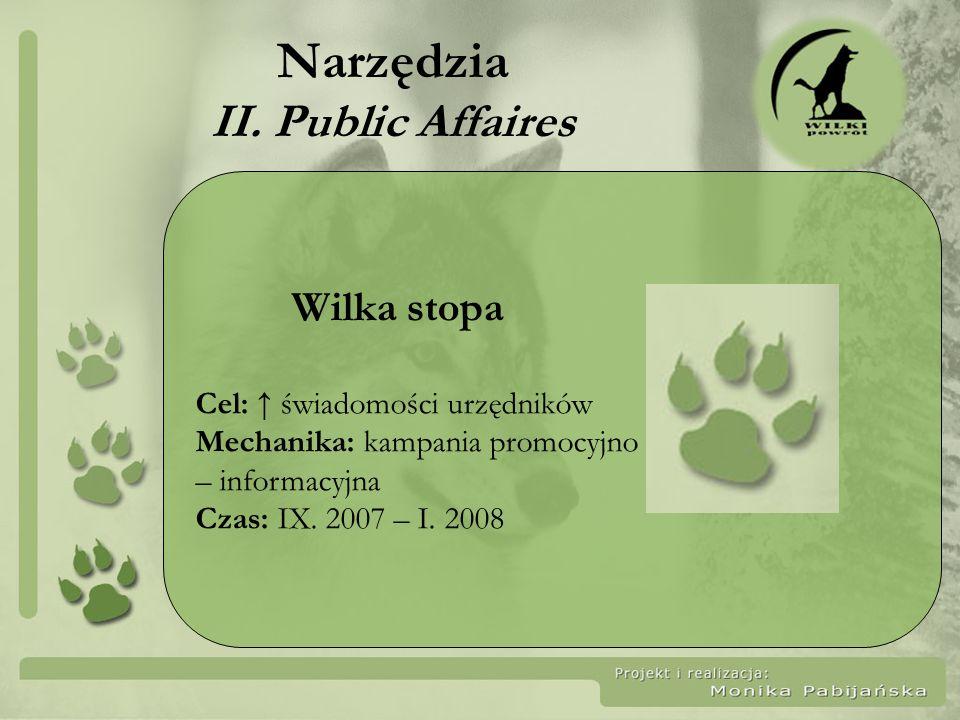 Narzędzia II. Public Affaires Wilka stopa Cel: świadomości urzędników Mechanika: kampania promocyjno – informacyjna Czas: IX. 2007 – I. 2008