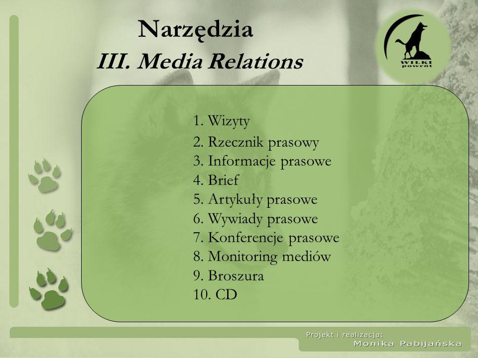 Narzędzia III. Media Relations 1. Wizyty 2. Rzecznik prasowy 3. Informacje prasowe 4. Brief 5. Artykuły prasowe 6. Wywiady prasowe 7. Konferencje pras