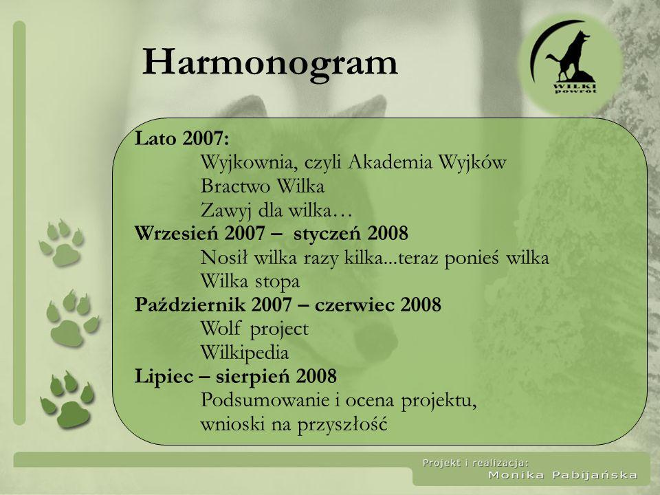 Harmonogram Lato 2007: Wyjkownia, czyli Akademia Wyjków Bractwo Wilka Zawyj dla wilka… Wrzesień 2007 – styczeń 2008 Nosił wilka razy kilka...teraz pon