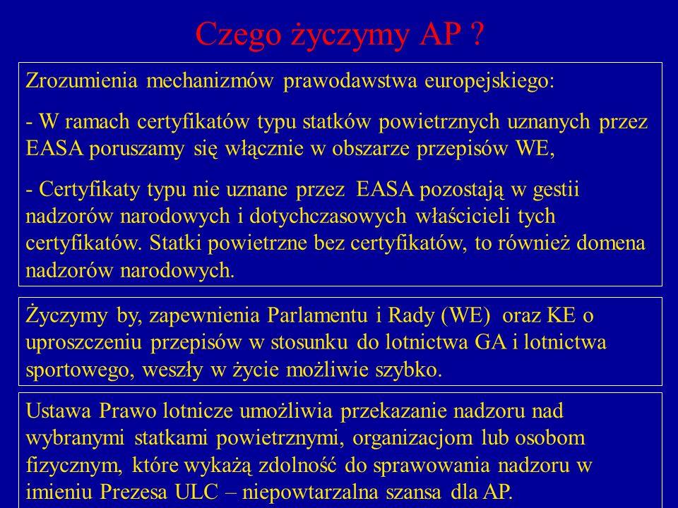 Czego życzymy AP ? Zrozumienia mechanizmów prawodawstwa europejskiego: - W ramach certyfikatów typu statków powietrznych uznanych przez EASA poruszamy