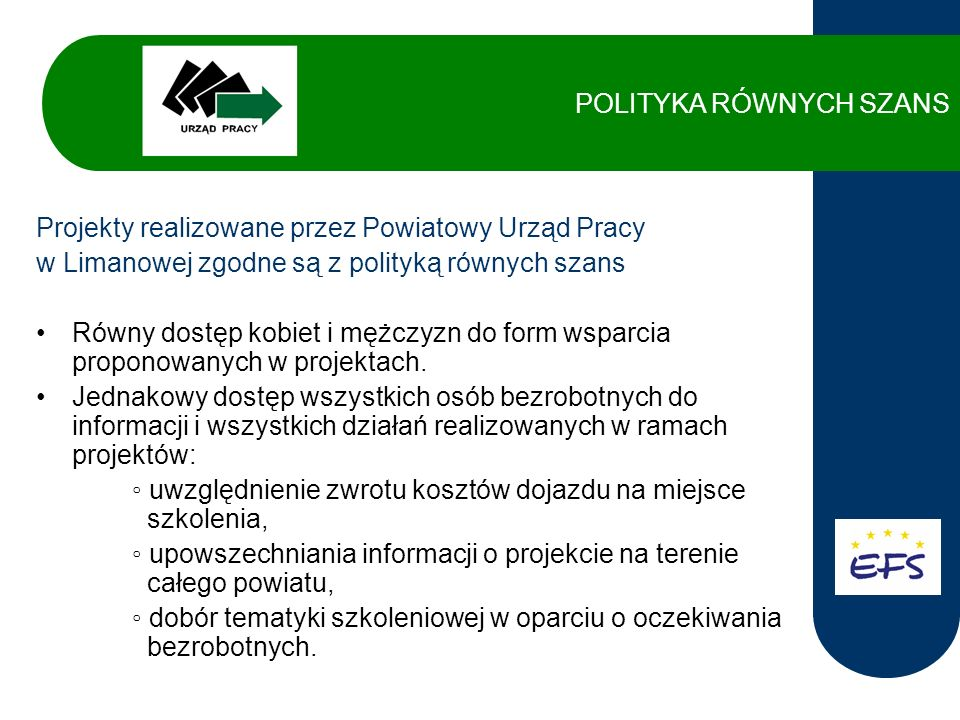 W latach 2004 – 2006 PUP w Limanowej realizował projekty w ramach Działania 1.2 oraz Działania 1.3 SPO Rozwój Zasobów Ludzkich współfinansowane ze środków Europejskiego Funduszu Społecznego.