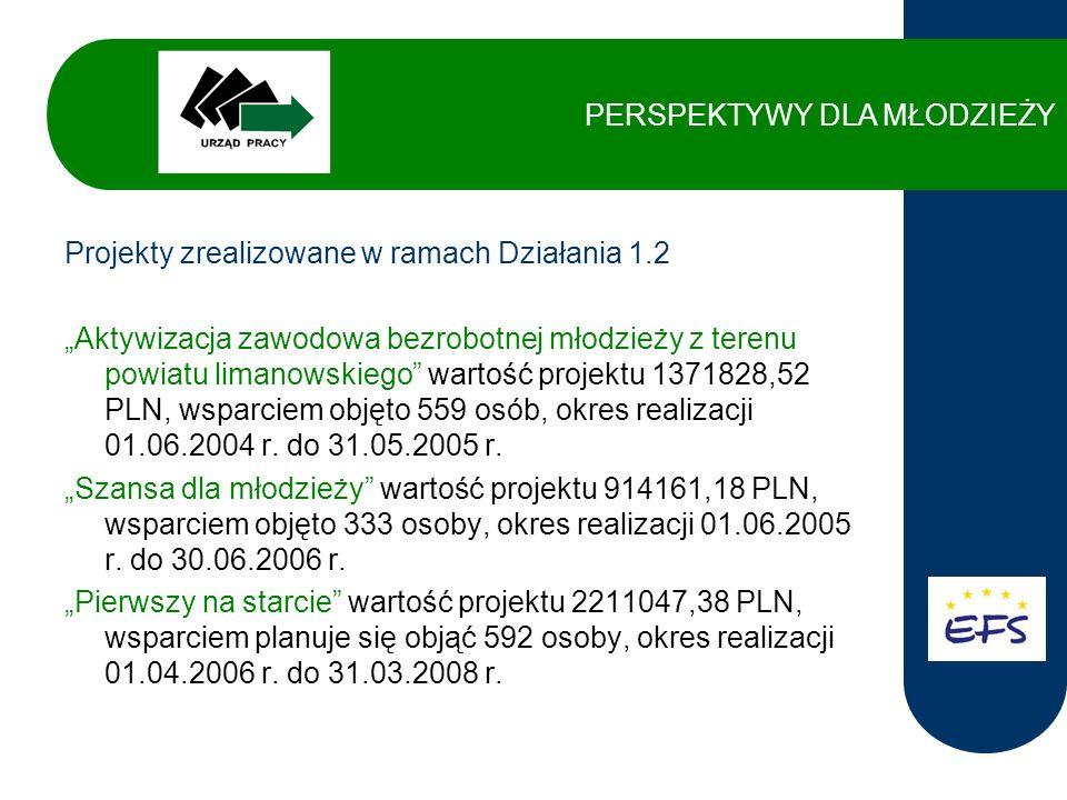 Projekty zrealizowane w ramach Działania 1.3 Aktywizacja zawodowa osób długotrwale bezrobotnych z terenu powiatu limanowskiego wartość projektu 344341,25 PLN, wsparciem objęto 238 osób, okres realizacji 01.06.2004 r.