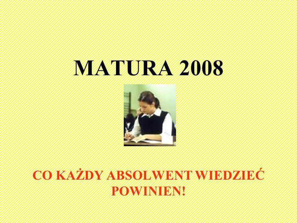 MATURA 2008 CO KAŻDY ABSOLWENT WIEDZIEĆ POWINIEN!