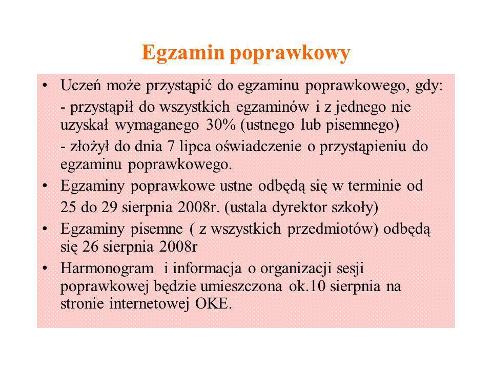 Egzamin poprawkowy Uczeń może przystąpić do egzaminu poprawkowego, gdy: - przystąpił do wszystkich egzaminów i z jednego nie uzyskał wymaganego 30% (u