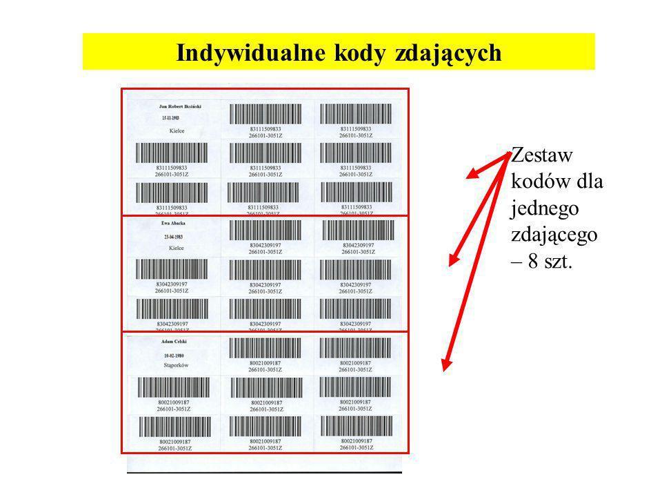 Indywidualne kody zdających Zestaw kodów dla jednego zdającego – 8 szt.