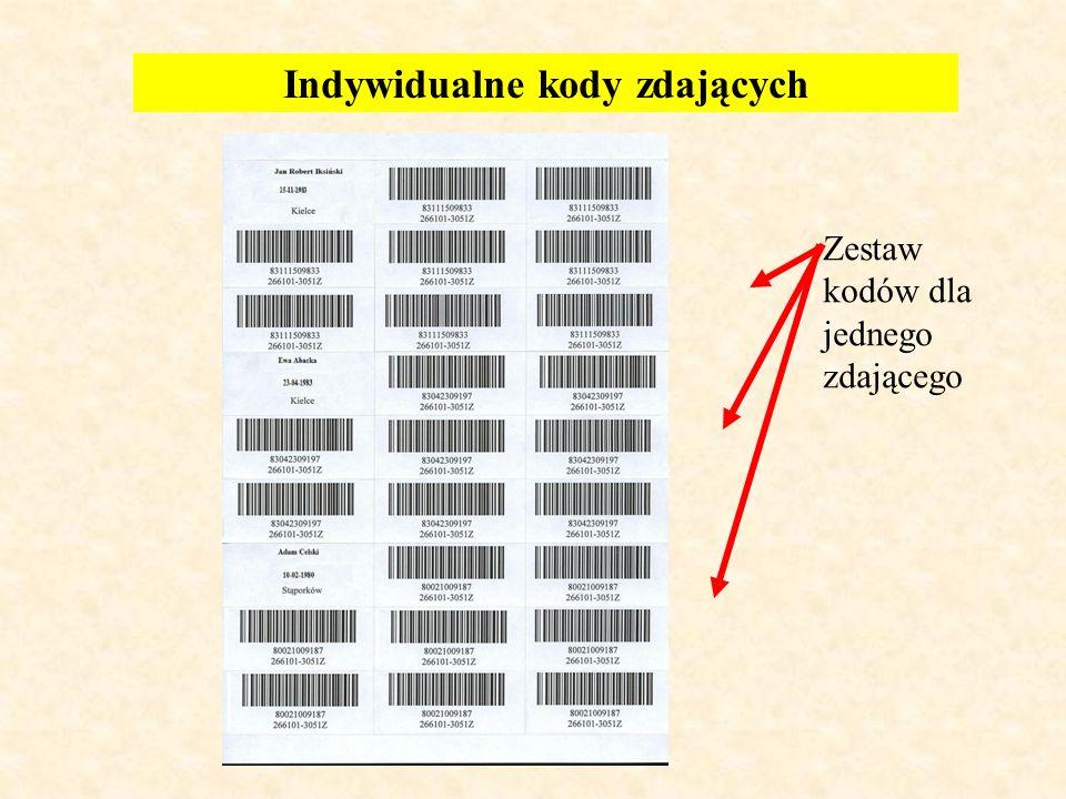 Indywidualne kody zdających Zestaw kodów dla jednego zdającego