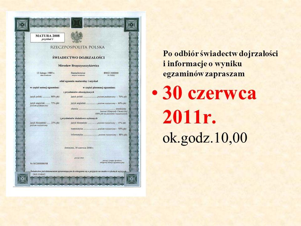 Po odbiór świadectw dojrzałości i informacje o wyniku egzaminów zapraszam 30 czerwca 2011r.