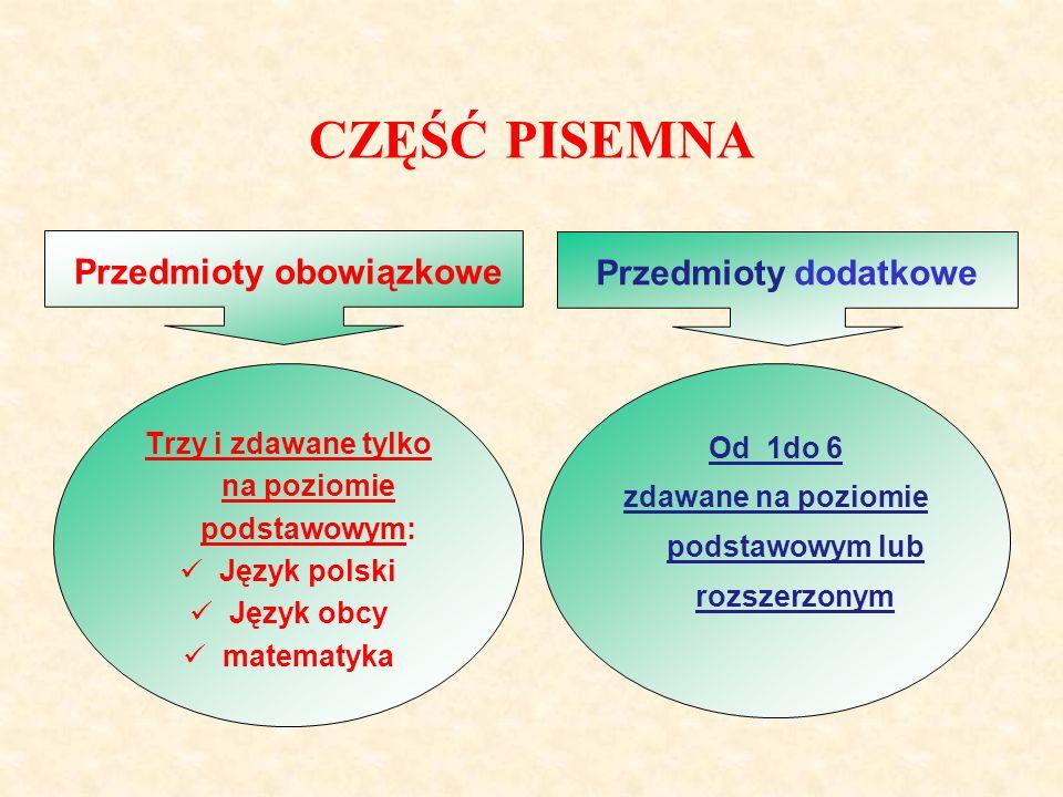 CZĘŚĆ PISEMNA Przedmioty obowiązkowePrzedmioty dodatkowe Trzy i zdawane tylko na poziomie podstawowym: Język polski Język obcy matematyka Od 1do 6 zdawane na poziomie podstawowym lub rozszerzonym
