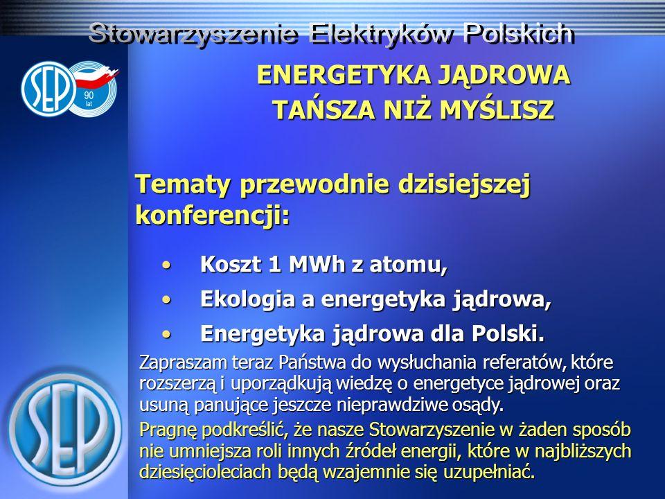 ENERGETYKA JĄDROWA TAŃSZA NIŻ MYŚLISZ Tematy przewodnie dzisiejszej konferencji: Koszt 1 MWh z atomu,Koszt 1 MWh z atomu, Ekologia a energetyka jądrow