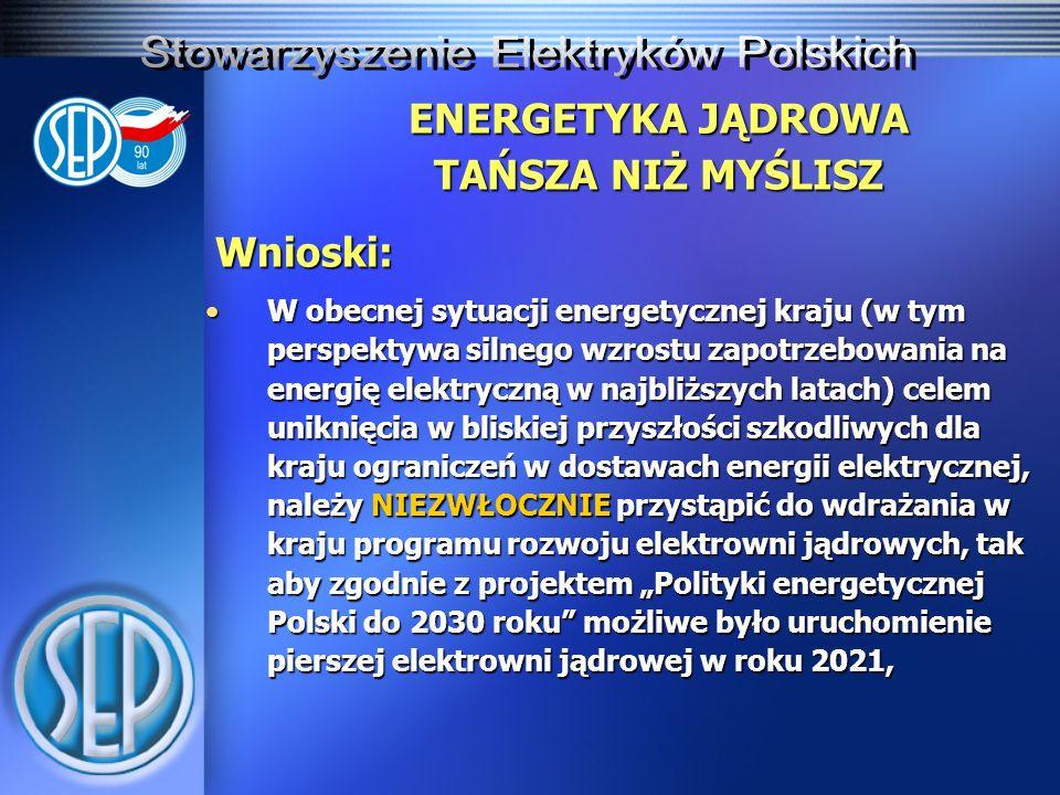 ENERGETYKA JĄDROWA TAŃSZA NIŻ MYŚLISZ Wnioski: W obecnej sytuacji energetycznej kraju (w tym perspektywa silnego wzrostu zapotrzebowania na energię el