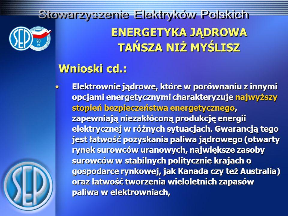 ENERGETYKA JĄDROWA TAŃSZA NIŻ MYŚLISZ Wnioski cd.: Elektrownie jądrowe, które w porównaniu z innymi opcjami energetycznymi charakteryzuje najwyższy st