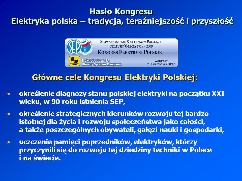 Hasło Kongresu Elektryka polska – tradycja, teraźniejszość i przyszłość określenie diagnozy stanu polskiej elektryki na początku XXI wieku, w 90 roku