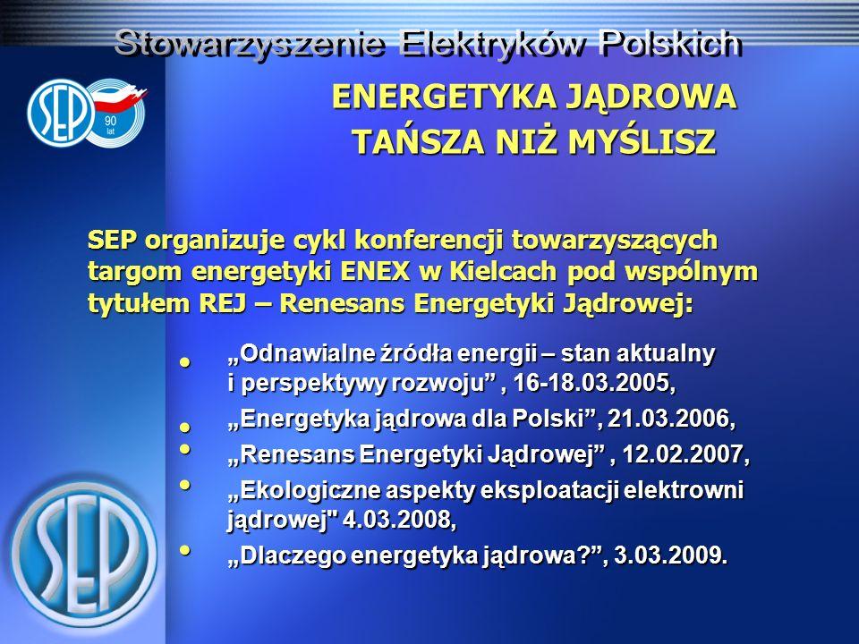 ENERGETYKA JĄDROWA TAŃSZA NIŻ MYŚLISZ Działalność na rzecz rozwoju energetyki jądrowej w Polsce wspomaga: SEREN POLSKA Stowarzyszenie Ekologów na rzecz Energii Nuklearnej, którego współzałożycielem jest SEP.