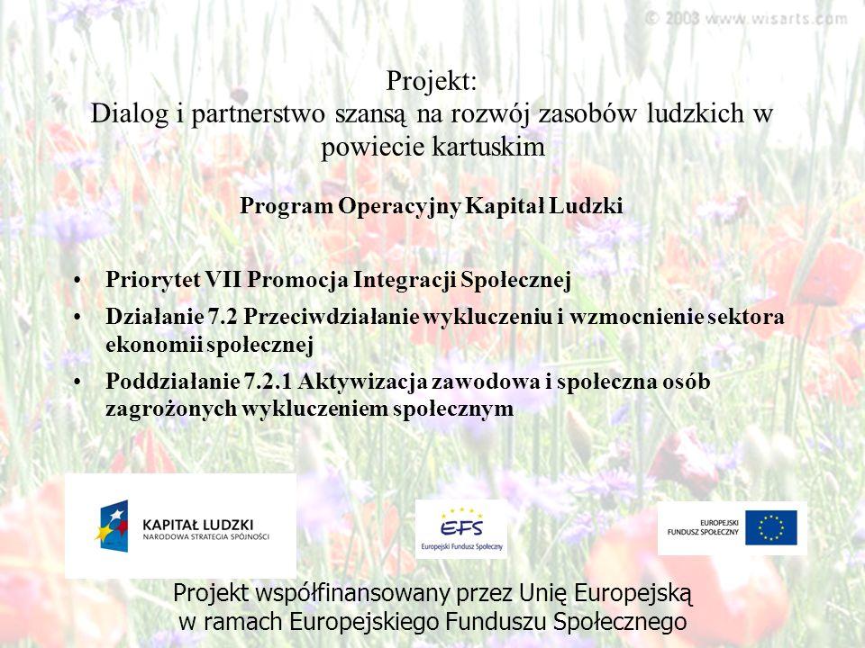 Projekt: Dialog i partnerstwo szansą na rozwój zasobów ludzkich w powiecie kartuskim Program Operacyjny Kapitał Ludzki Priorytet VII Promocja Integrac