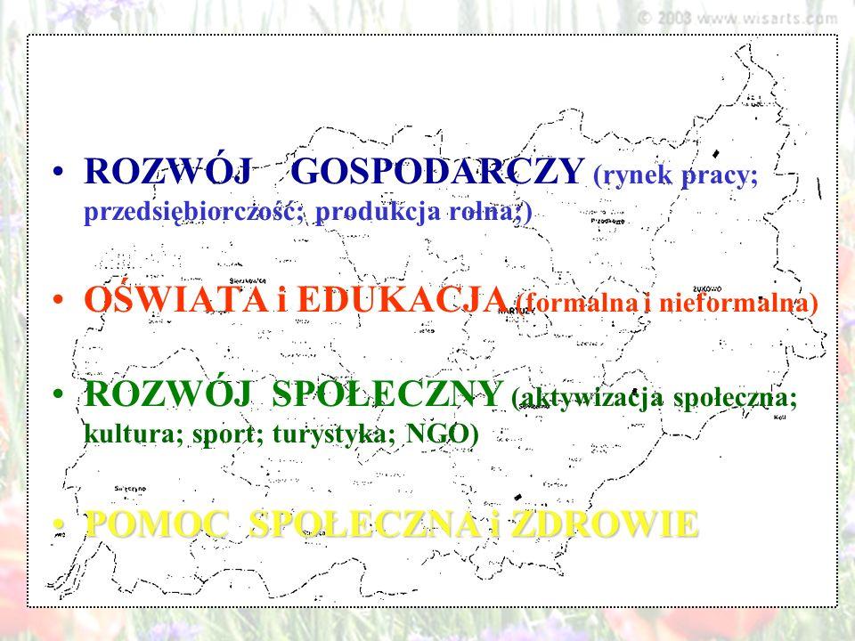 ROZWÓJ GOSPODARCZY (rynek pracy; przedsiębiorczość; produkcja rolna;) OŚWIATA i EDUKACJA (formalna i nieformalna) ROZWÓJ SPOŁECZNY (aktywizacja społec