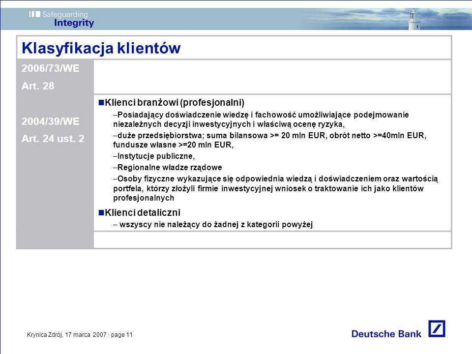 Krynica Zdrój, 17 marca 2007 · page 11 Klasyfikacja klientów 2006/73/WE Art. 28 2004/39/WE Art. 24 ust. 2 Klienci branżowi (profesjonalni) –Posiadając