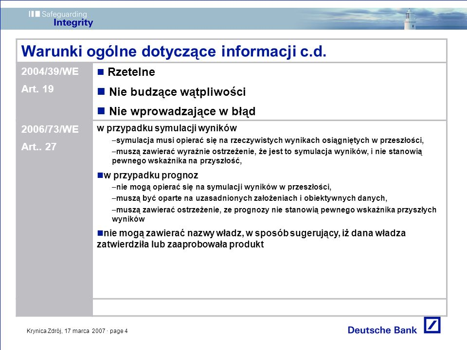Krynica Zdrój, 17 marca 2007 · page 4 Warunki ogólne dotyczące informacji c.d. 2004/39/WE Art. 19 Rzetelne Nie budzące wątpliwości Nie wprowadzające w