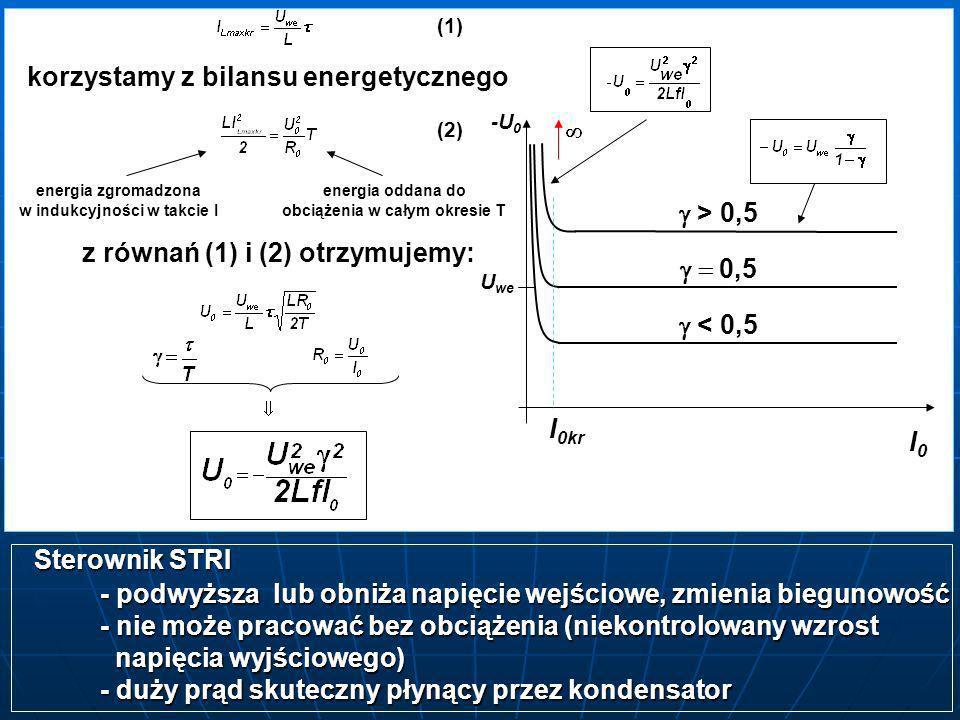korzystamy z bilansu energetycznego energia zgromadzona w indukcyjności w takcie I energia oddana do obciążenia w całym okresie T (1) (2) z równań (1)