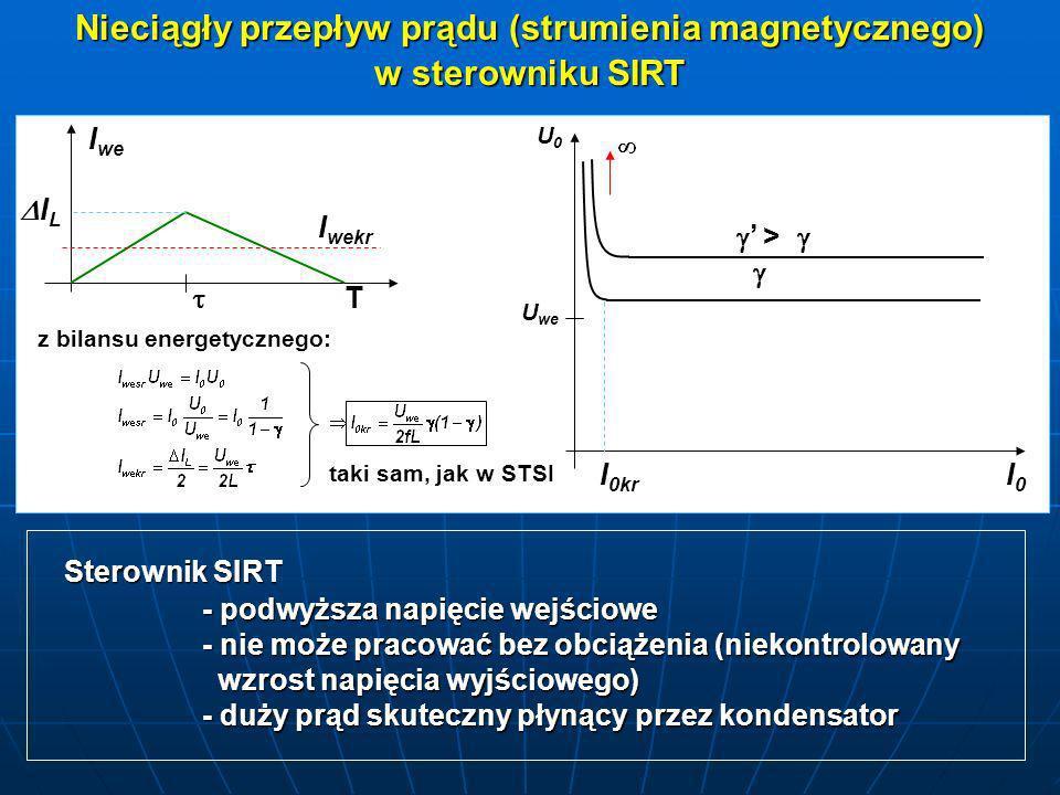 Nieciągły przepływ prądu (strumienia magnetycznego) w sterowniku SIRT I we I wekr I L I L T taki sam, jak w STSI U0U0 U we I 0kr > > I0I0I0I0 Sterowni