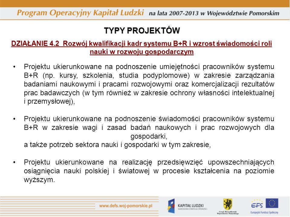Projektu ukierunkowane na podnoszenie umiejętności pracowników systemu B+R (np.