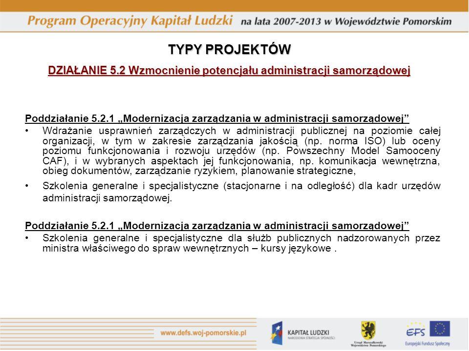 Poddziałanie 5.2.1 Modernizacja zarządzania w administracji samorządowej Wdrażanie usprawnień zarządczych w administracji publicznej na poziomie całej organizacji, w tym w zakresie zarządzania jakością (np.