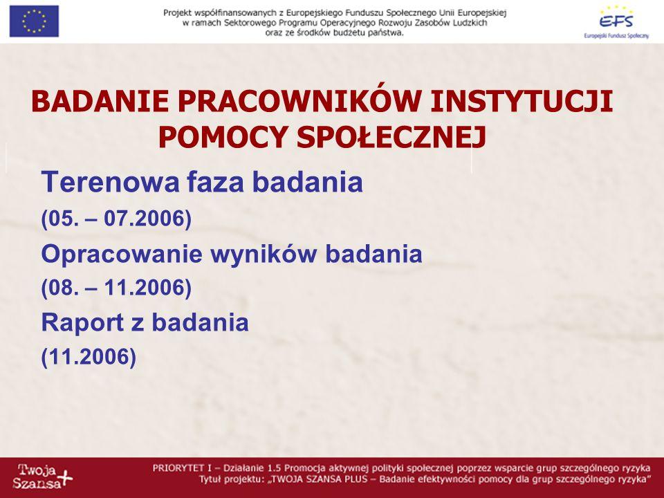 BADANIE PRACOWNIKÓW INSTYTUCJI POMOCY SPOŁECZNEJ Terenowa faza badania (05.