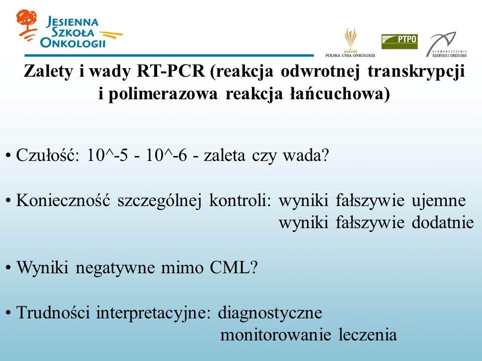 Zalety i wady RT-PCR (reakcja odwrotnej transkrypcji i polimerazowa reakcja łańcuchowa) Czułość: 10^-5 - 10^-6 - zaleta czy wada? Konieczność szczegól