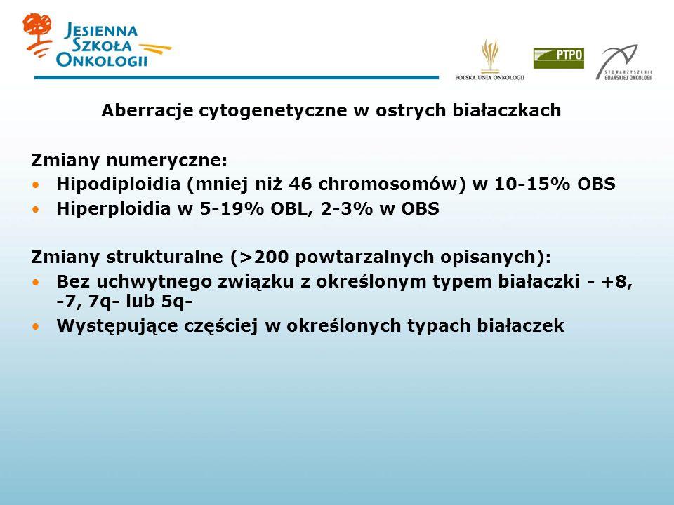 Aberracje cytogenetyczne w ostrych białaczkach Zmiany numeryczne: Hipodiploidia (mniej niż 46 chromosomów) w 10-15% OBS Hiperploidia w 5-19% OBL, 2-3%