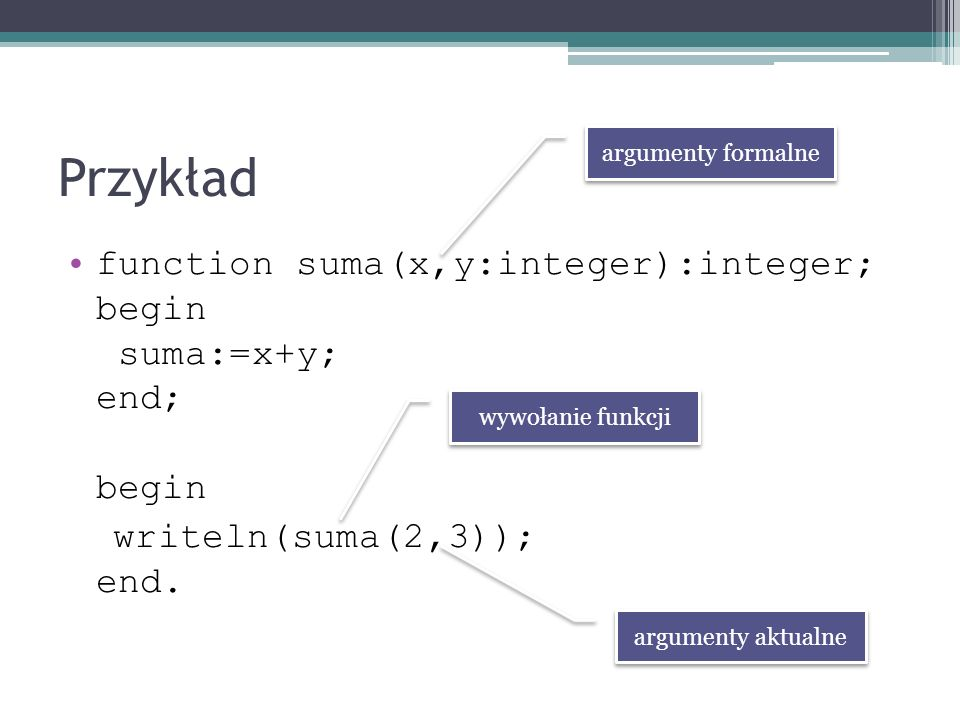 Przykład function suma(x,y:integer):integer; begin suma:=x+y; end; begin writeln(suma(2,3)); end. argumenty formalne argumenty aktualne wywołanie funk