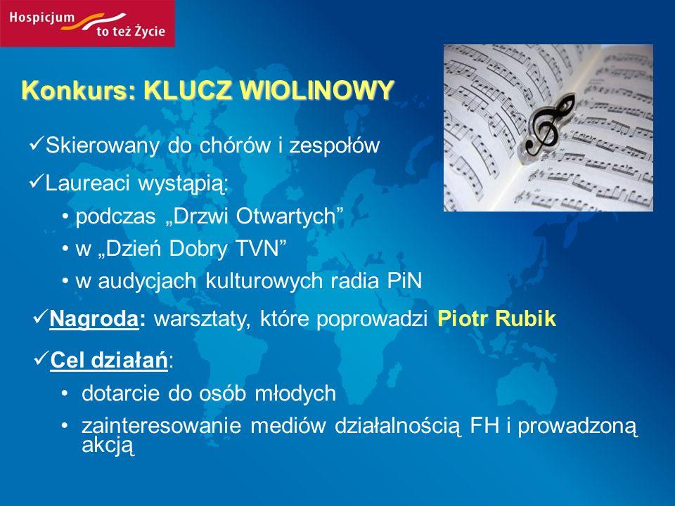 Konkurs: KLUCZ WIOLINOWY Skierowany do chórów i zespołów Laureaci wystąpią: podczas Drzwi Otwartych w Dzień Dobry TVN w audycjach kulturowych radia Pi