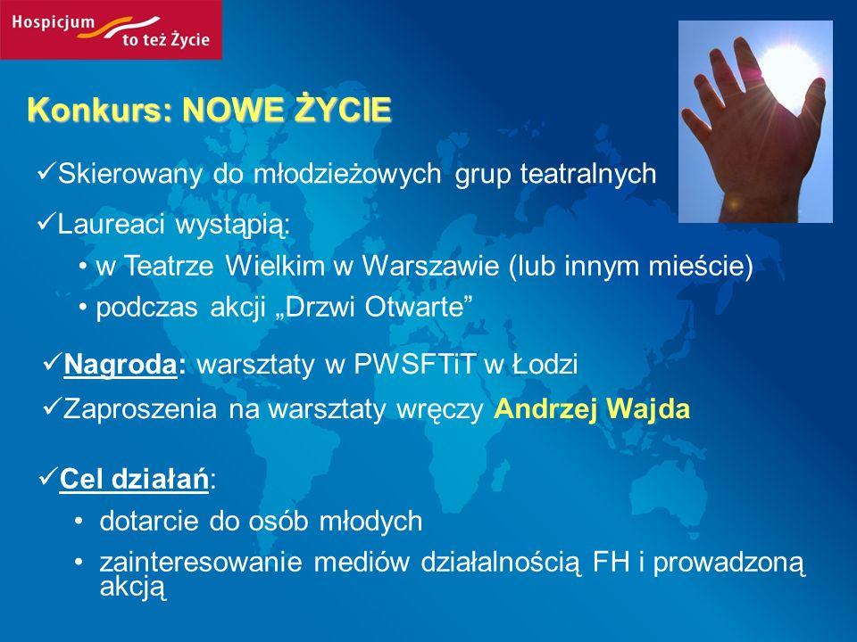 Konkurs: NOWE ŻYCIE Skierowany do młodzieżowych grup teatralnych Laureaci wystąpią: w Teatrze Wielkim w Warszawie (lub innym mieście) podczas akcji Dr