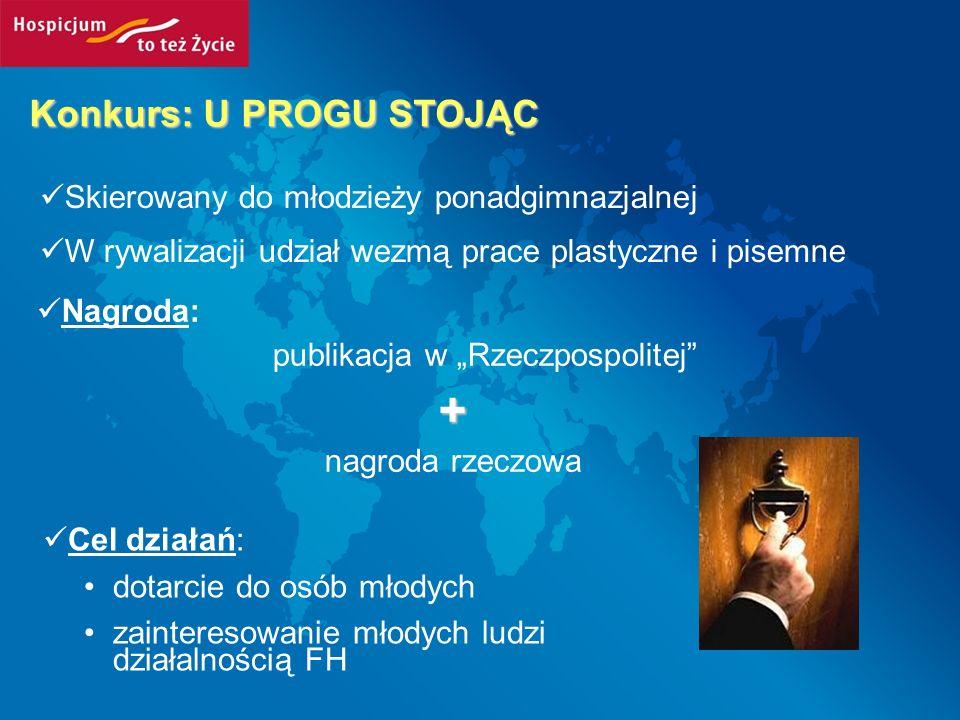 Konkurs: U PROGU STOJĄC Skierowany do młodzieży ponadgimnazjalnej W rywalizacji udział wezmą prace plastyczne i pisemne Nagroda: publikacja w Rzeczpos