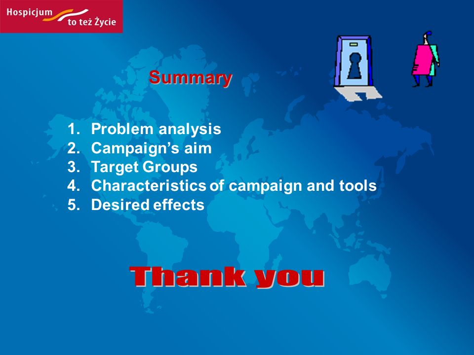 Summary 1.Problem analysis 2.Campaigns aim 3.Target Groups 4.Characteristics of campaign and tools 5.Desired effects