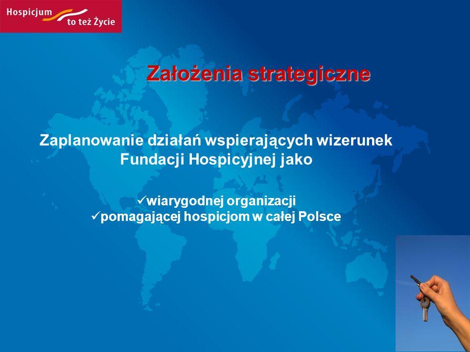 Cele Wzmocnienie wizerunku FH jako organizacji pomagającej hospicjom w całej Polsce Podnoszenie świadomości społecznej w zakresie opieki paliatywnej Zachęcenie do pracy wolontaryjnej Pozyskanie darczyńców wspierających działalność FH