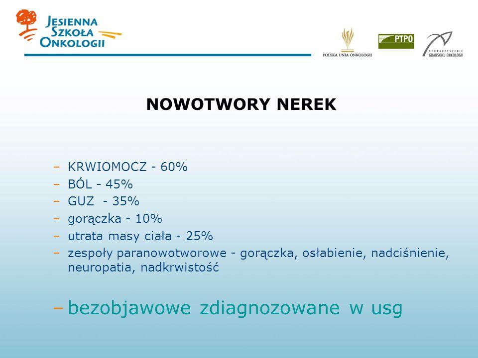 NOWOTWORY NEREK –KRWIOMOCZ - 60% –BÓL - 45% –GUZ - 35% –gorączka - 10% –utrata masy ciała - 25% –zespoły paranowotworowe - gorączka, osłabienie, nadciśnienie, neuropatia, nadkrwistość –bezobjawowe zdiagnozowane w usg