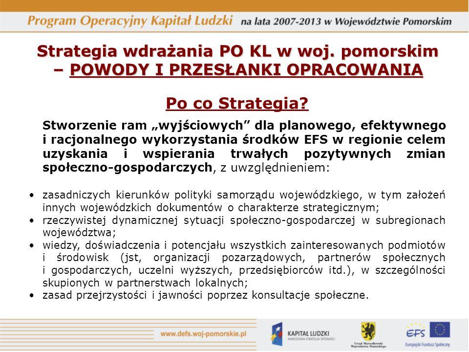 Po co Strategia? Stworzenie ram wyjściowych dla planowego, efektywnego i racjonalnego wykorzystania środków EFS w regionie celem uzyskania i wspierani