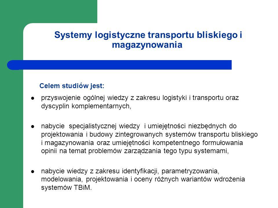 Systemy logistyczne transportu bliskiego i magazynowania Celem studiów jest: przyswojenie ogólnej wiedzy z zakresu logistyki i transportu oraz dyscypl