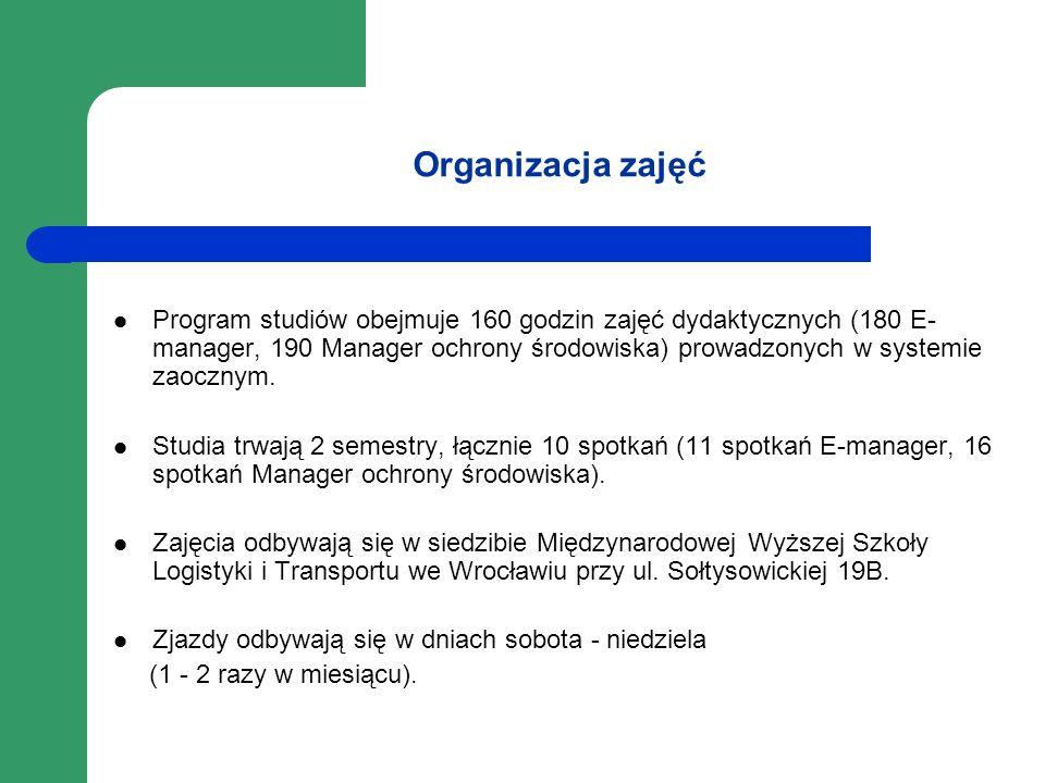 Organizacja zajęć Program studiów obejmuje 160 godzin zajęć dydaktycznych (180 E- manager, 190 Manager ochrony środowiska) prowadzonych w systemie zao