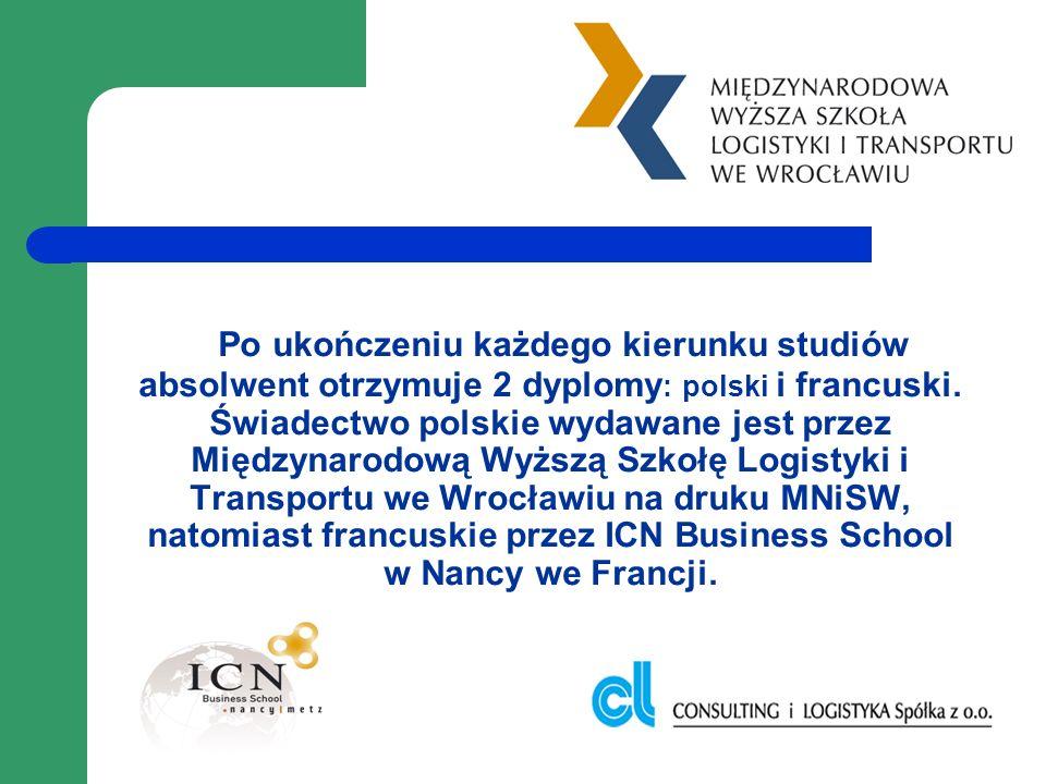 Po ukończeniu każdego kierunku studiów absolwent otrzymuje 2 dyplomy : polski i francuski. Świadectwo polskie wydawane jest przez Międzynarodową Wyższ