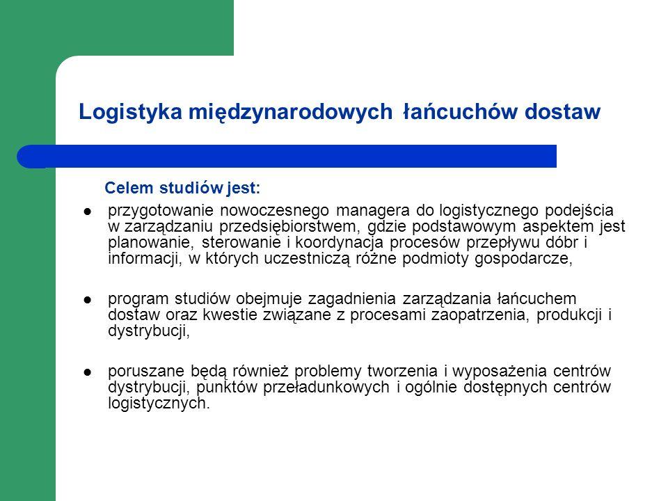 Logistyka międzynarodowych łańcuchów dostaw Celem studiów jest: przygotowanie nowoczesnego managera do logistycznego podejścia w zarządzaniu przedsięb
