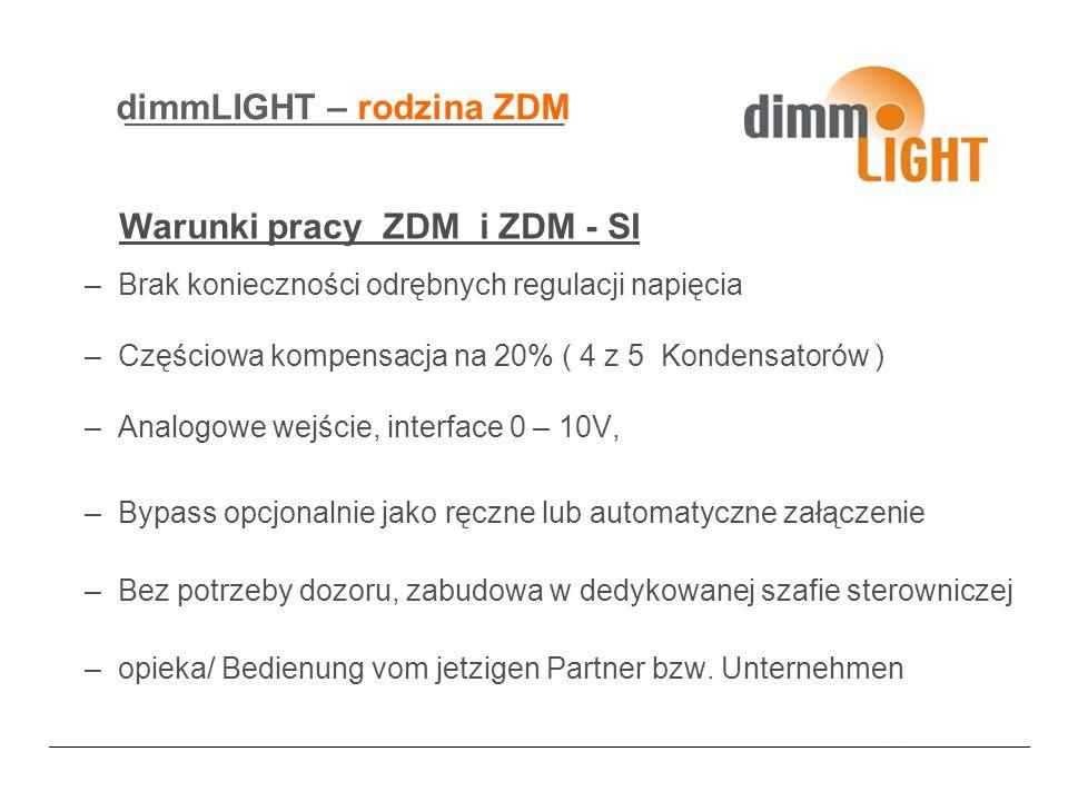 dimmLIGHT – rodzina ZDM –Brak konieczności odrębnych regulacji napięcia –Częściowa kompensacja na 20% ( 4 z 5 Kondensatorów ) –Analogowe wejście, interface 0 – 10V, –Bypass opcjonalnie jako ręczne lub automatyczne załączenie –Bez potrzeby dozoru, zabudowa w dedykowanej szafie sterowniczej –opieka/ Bedienung vom jetzigen Partner bzw.