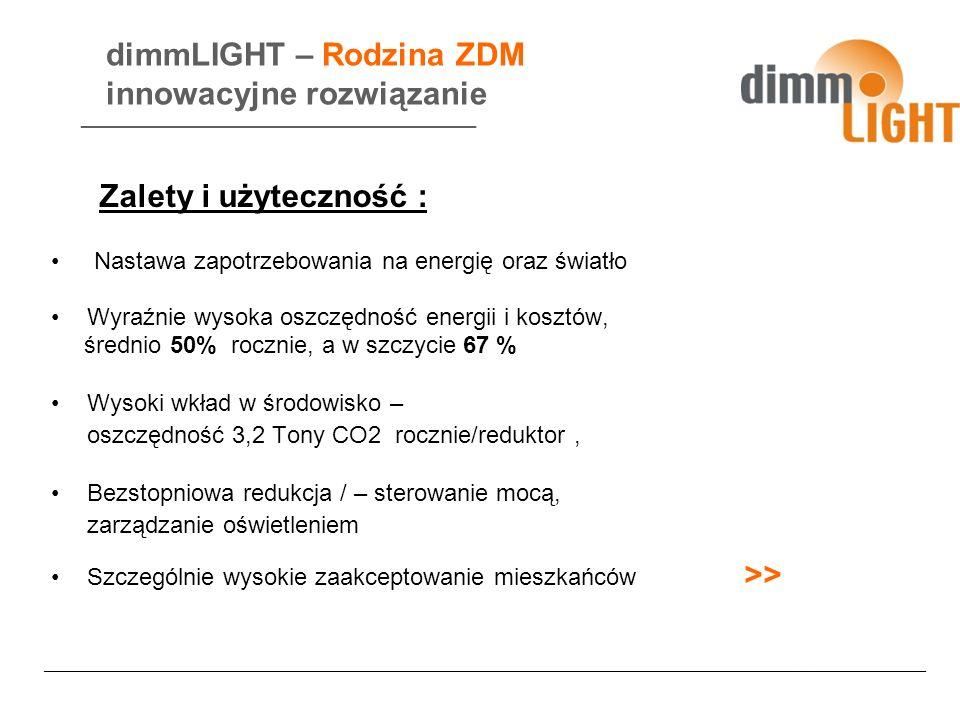 dimmLIGHT – Rodzina ZDM innowacyjne rozwiązanie Nastawa zapotrzebowania na energię oraz światło Wyraźnie wysoka oszczędność energii i kosztów, średnio 50% rocznie, a w szczycie 67 % Wysoki wkład w środowisko – oszczędność 3,2 Tony CO2 rocznie/reduktor, Bezstopniowa redukcja / – sterowanie mocą, zarządzanie oświetleniem Szczególnie wysokie zaakceptowanie mieszkańców >> ______________________________ Zalety i użyteczność : ___________________________________________________________________________________________________________________________________________________
