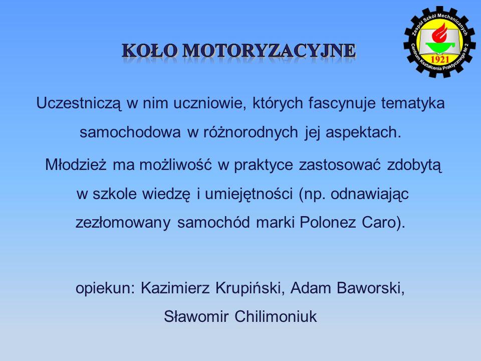 Uczestniczą w nim uczniowie, których fascynuje tematyka samochodowa w różnorodnych jej aspektach. Młodzież ma możliwość w praktyce zastosować zdobytą