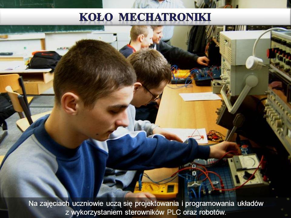 Model przenośnika taśmowego - urządzenie skonstruowane podczas zajęć Koła Mechatroniki.