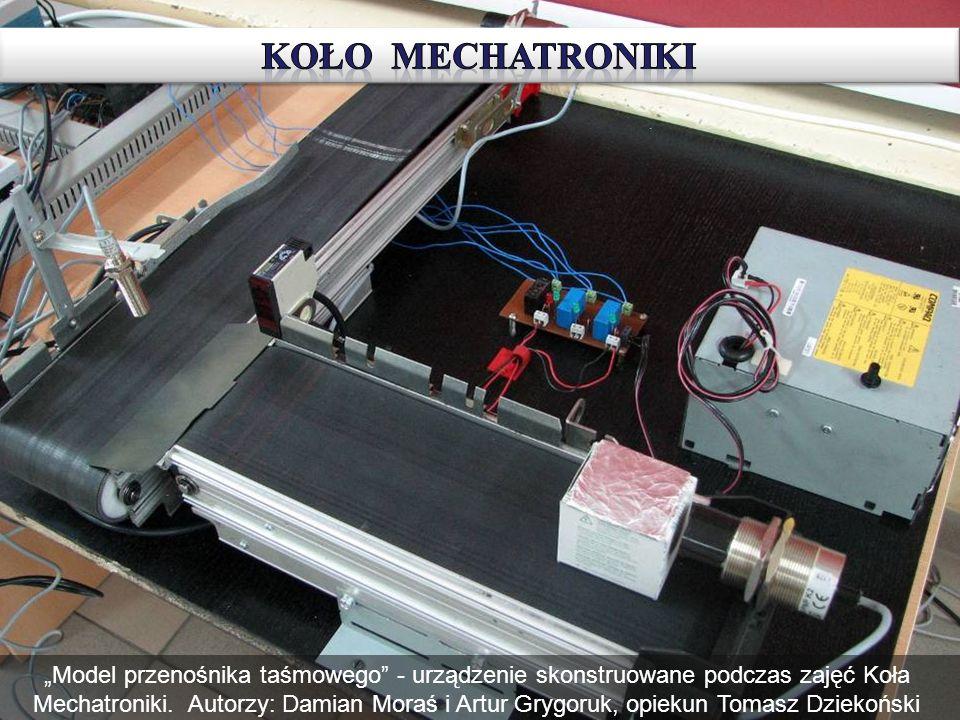 Model przenośnika taśmowego - urządzenie skonstruowane podczas zajęć Koła Mechatroniki. Autorzy: Damian Moraś i Artur Grygoruk, opiekun Tomasz Dziekoń
