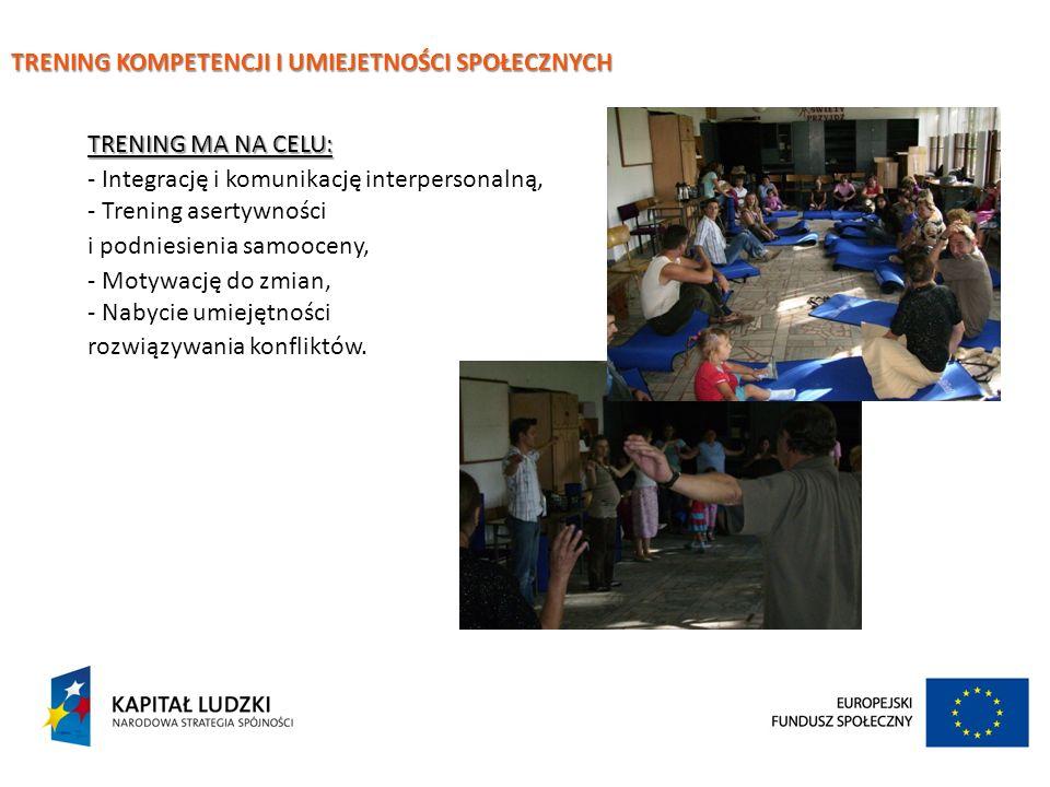 TRENING KOMPETENCJI I UMIEJETNOŚCI SPOŁECZNYCH TRENING MA NA CELU: - Integrację i komunikację interpersonalną, - Trening asertywności i podniesienia s